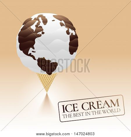 Ice cream vector logo sign symbol emblem illustration. Template design element for restaurant shop with homemade chocolate ice cream and waffle cone