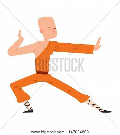 Fighter Shaolin monk man kick punch grab throw body vector. Athlete training martial monk fighter people symbol character. Fighter man strong gym kick body. Fight tibet chine monk people