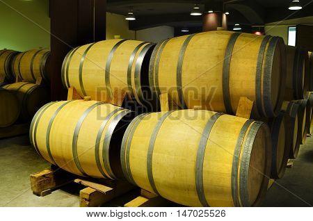Wine aging in a barrels in a winery basement