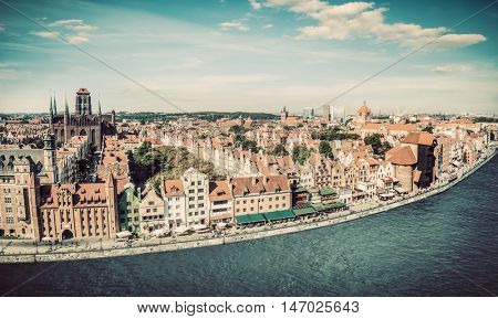 Panorama of Gdansk old town and Motlawa river in Poland. The city also known as Danzig and the city of amber. Vintage