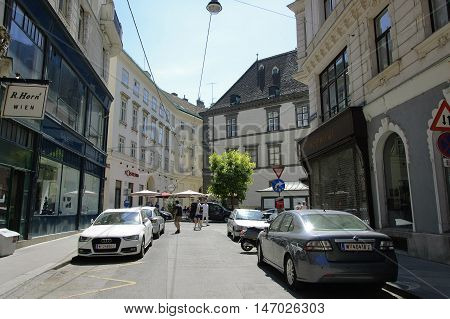 Vienna Austria - 04 July 2015 : Braunerstrasse - despite the fact that this street connects the Hofburg and the Inner Stadt it is quiet and not crowded