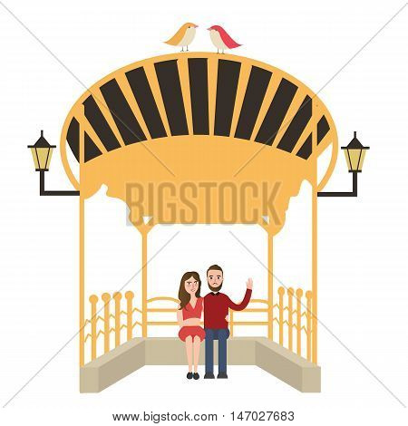 couple sitting waiting the bus vector drawing illustration