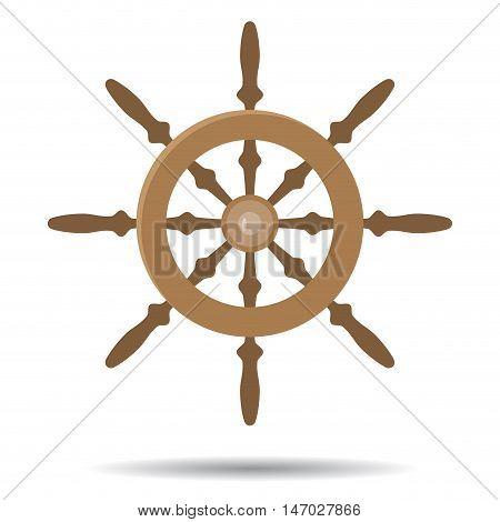 Steering vessel wooden. Steering wheel for ship. Vector illustration