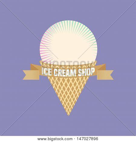 Ice cream vector logo sign icon illustration. Retro vintage design element with round vanilla ice cream in waffle cone
