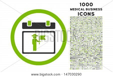 National Holiday Day rounded vector bicolor icon with 1000 medical business icons. Set style is flat pictograms, eco green and gray colors, white background.
