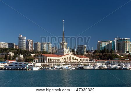 Sochi, Russia - February 9, 2016: Marine station The building was built in 1955