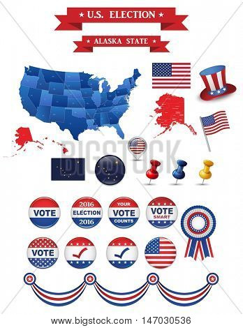 US Presidential Election 2016. Alaska State. Including High Detailed Map of Alaska Perfect for Election Campaign
