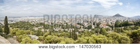 Wide Angle Panoramic View Of Athens, Greece