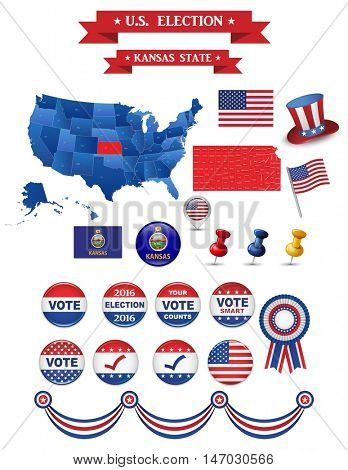 US Presidential Election 2016. Kansas State. Including High Detailed Map of Kansas. Perfect for Election Campaign.