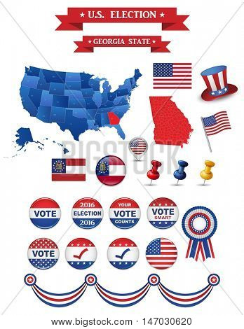 US Presidential Election 2016. Georgia State. Including High Detailed Map of Georgia. Perfect for Election Campaign