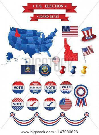 US Presidential Election 2016. Idaho State. Including High Detailed Map of Idaho Perfect for Election Campaign