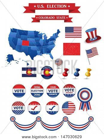 US Presidential Election 2016. Colorado State. Including High Detailed Map of Colorado. Perfect for Election Campaign