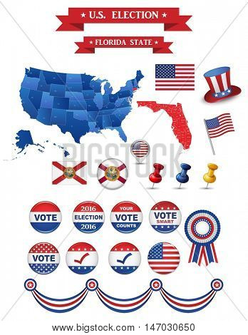 US Presidential Election 2016. Florida State. Including High Detailed Map of Florida. Perfect for Election Campaign.