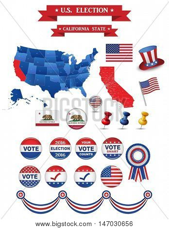 US Presidential Election 2016. California State. Including High Detailed Map of California. Perfect for Election Campaign