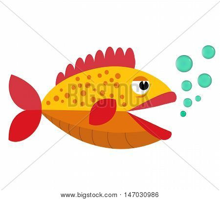 Tropical flat fish. Aquarium fish flat icon. Vector aquarium fish silhouette illustration. Colorful cartoon flat aquarium fish icon for your design  Eps10. Isolated on a white background.