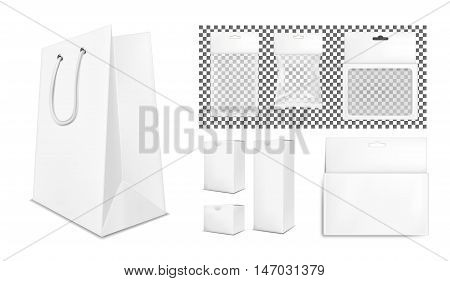 Transparent empty plastic and paper packaging. White sachet with hang slot.