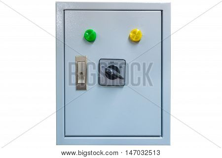 Electrical control box isolated on white background.