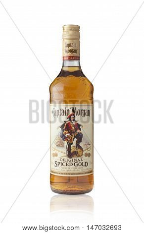 CHISINAU MOLDOVA - September 13 2016: Captain Morgan is a brand of rum produced by alcohol conglomerate Diageo. Captain Morgan is by volume the second largest brand of spirits in the United States