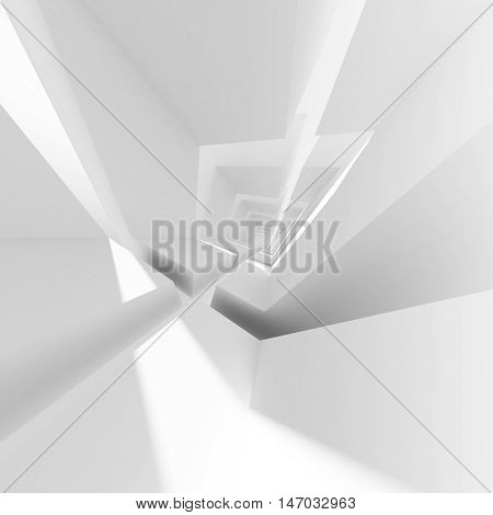 White Abstract Empty Interior 3D Render