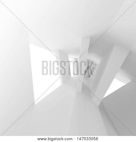 Empty Interior With Bent Perspective. 3D
