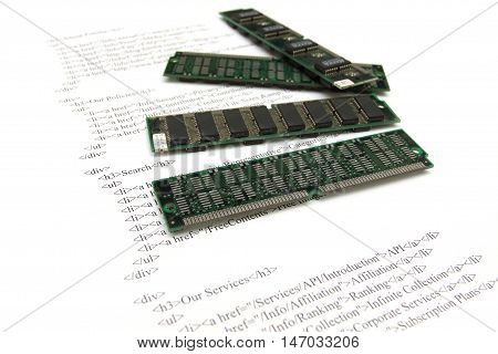 pc memory on background of page make in html language with tag