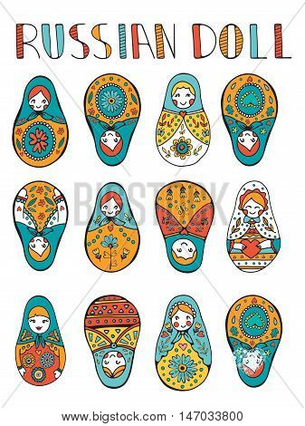 Russian dolls colorful collection. Illustration in vector format