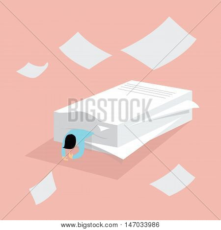 man people hard work tired between pile of paper overwork exhausted vector