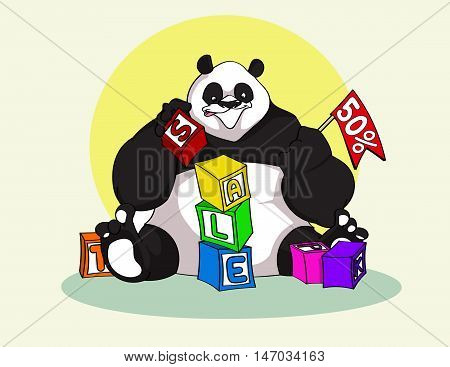 Hand drawn cartoon style Panda builds cubes toys with Sale letters - stock vector