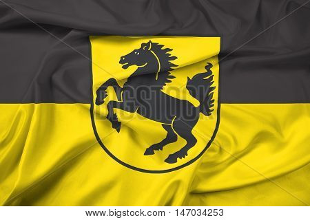 Waving Flag Of Stuttgart With Coat Of Arms, Germany
