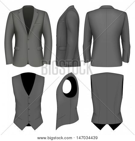 Formal business suits jacket and waistcoat for men. Fully editable handmade mesh. Vector illustration.