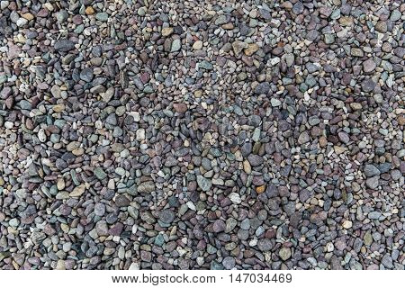 inanimate nature and background concept - close up of beach pebble stones
