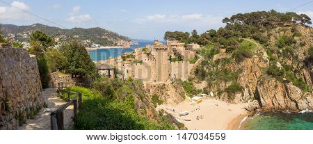 View on the beaches of Tossa de Mar Costa Brava Spain