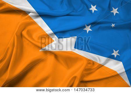 Waving Flag Of Tierra Del Fuego Province, Argentina