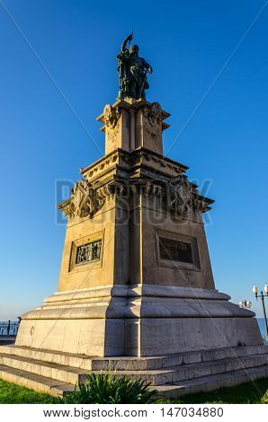 Statue of Roger de Lauria on Mediterranean balcony in Tarragona, summer Spain