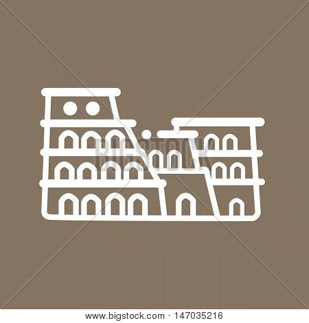 Rome colosseum Italy building ancient line art icon flat tourism symbol vector