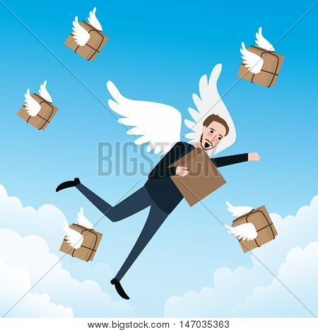 send delivery box fast flying with wings vector