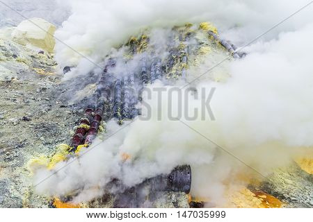Sulfur mine Inside crater of Ijen volcano East Java Indonesia