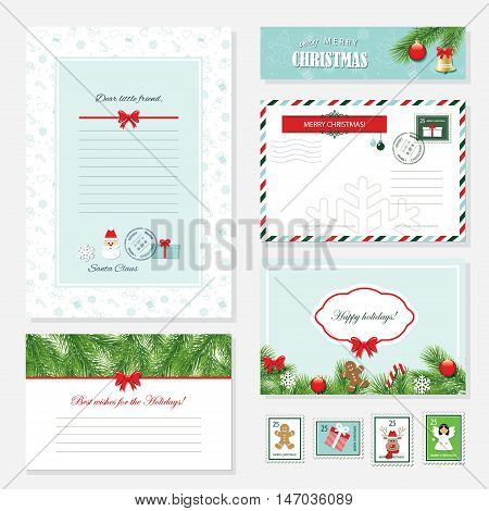 Christmas templates set. Letter from Santa Claus Greeting cards banner envelope and postage stamps. Pattern with gingerbread man added in swatches.
