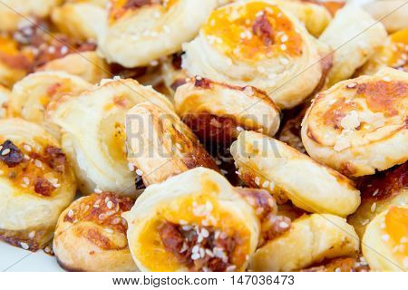 Cookies Of Puff Pastry With Sesame Seeds