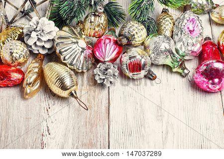 Fashionable Christmas decorations Soviet era on white background