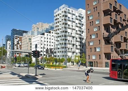 OSLO, NORWAY - AUGUST 27, 2016: Roller skiing and Barcode in Oslo.