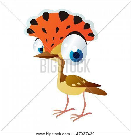vector cool image of cartoon bright color animal. Funny cute birds. Flycatcher