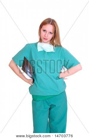 Beautiful young  female doctor holding up xrays