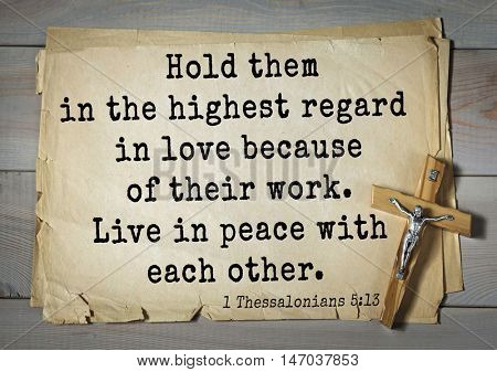 TOP-150 Bible Verses about Love.Hold them in the highest regard in love because of their work. Live in peace with each other.