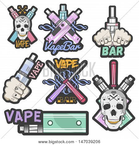Vector colorful set of vape bar stickers, banners, logos, labels, emblems or badges. Vintage style electronic cigarette and skulls. Isolated illustration