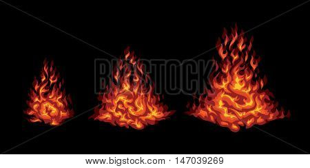 Set of red stylized fire on a black background. Campfire flare up elements.