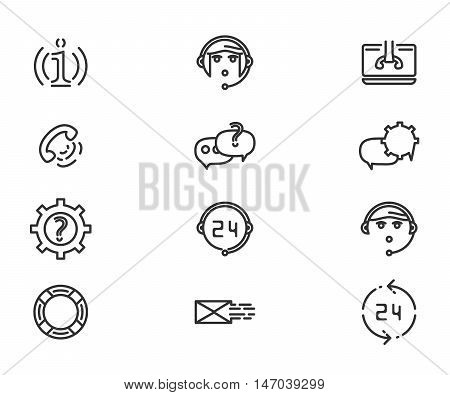 Support service and telemarketing vector icon set eps 10