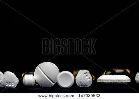 pils and tablets, medicines studio macro closeup