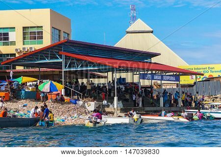Semporna,Sabah-Sept 10,2016:Jetty of speedboats terminal public in Semporna,Sabah,Borneo on 10th Sept 2016.This Jetty is the entry to all local activity in Semporna in town.