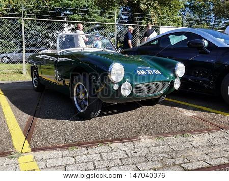 Amsterdam, The Netherlands - September 10, 2016: Green Austin Healey Sprite Mk 11 1964 On Display Du